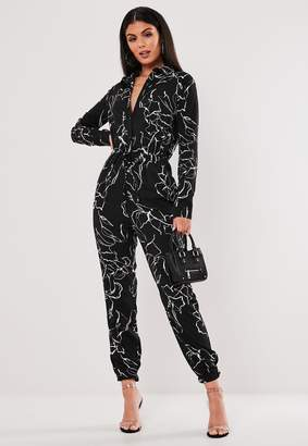 Missguided Black Scatter Print Shirt Jumpsuit