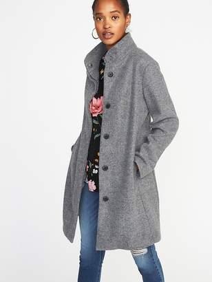 Old Navy Bouclé Flannel Funnel-Neck Coat for Women