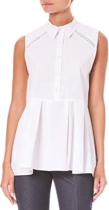 Carolina Herrera Sleeveless Button-Down Cotton Poplin Peplum Blouse