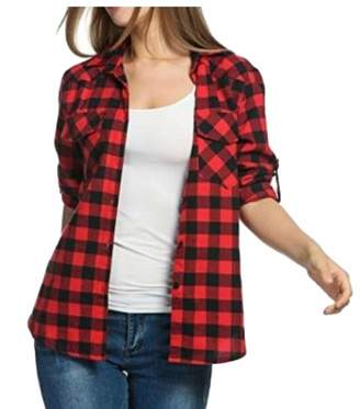 913740f60 omniscient Women Roll Up Sleeve Plaid Shirt Boyfriend Button Down Checke  Shirt S