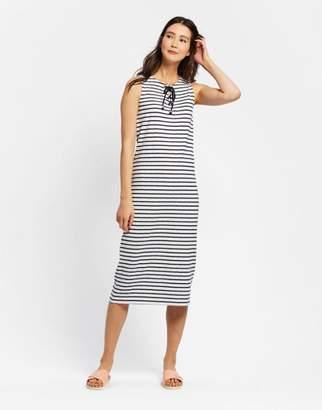 Joules Creme Stripe Anita Tie Neck Jersey Dress