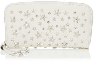 Jimmy Choo FILIPA Chalk Leather Wallet with Crystal Stars