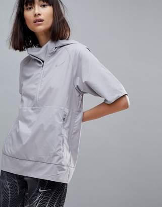 Nike Running Flex Essential Short Sleeve Jacket In Grey