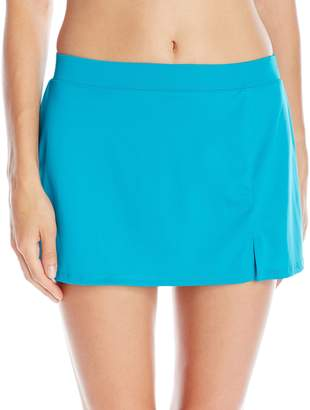 Caribbean Joe Women's Solid Side-Slit Skirted Bikini Bottom
