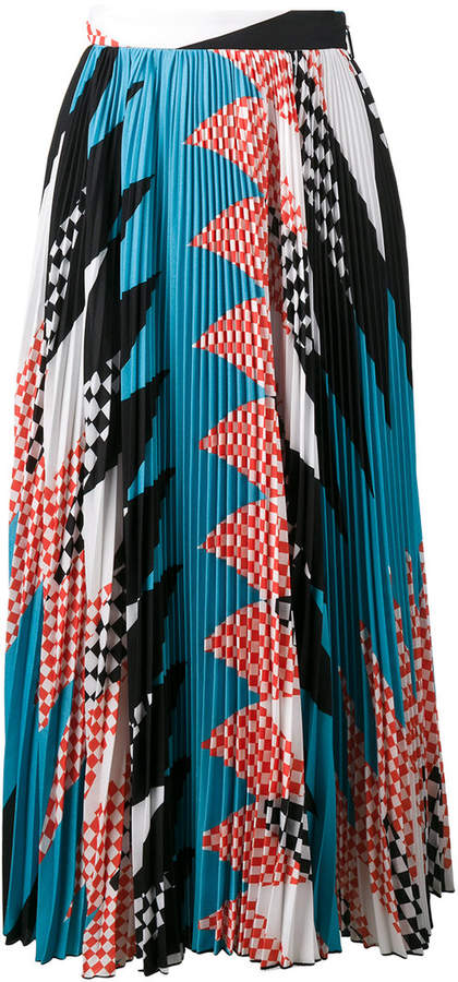 MSGM geometric print pleated skirt