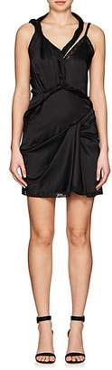 Alexander Wang WOMEN'S TWISTED-STRAP STRETCH-SILK CHARMEUSE DRESS - BLACK SIZE 6