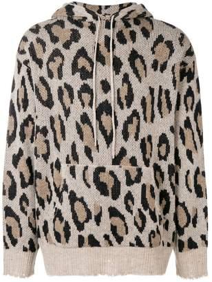 R 13 leopard print knitted hoodie
