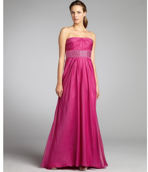 Carmen Marc Valvo fuschia silk chiffon pleated stud and crystal banded strapless gown
