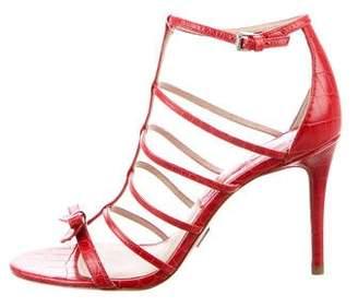 Michael Kors Multistrap Embossed Leather Sandals