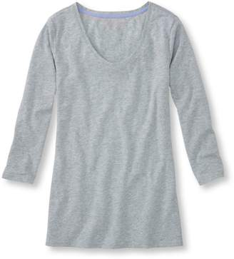 L.L. Bean L.L.Bean West End Fitted Tee, Three-Quarter-Sleeve Scoopneck