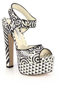 Brian Atwood Karin Printed Elaphe Platform Sandals $1,295 thestylecure.com