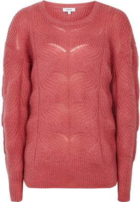 Reiss Dinah - Mohair Blend Patterned Jumper in Pink