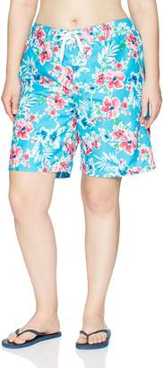 Kanu Surf Women's Plus Size Katya Upf 50+ Active Floral Swim Boardshort