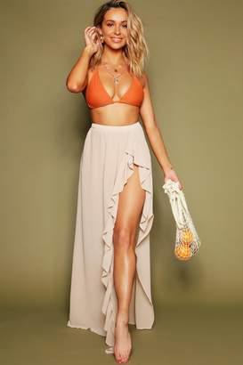 boohoo High Lo Frill Beach Maxi Skirt