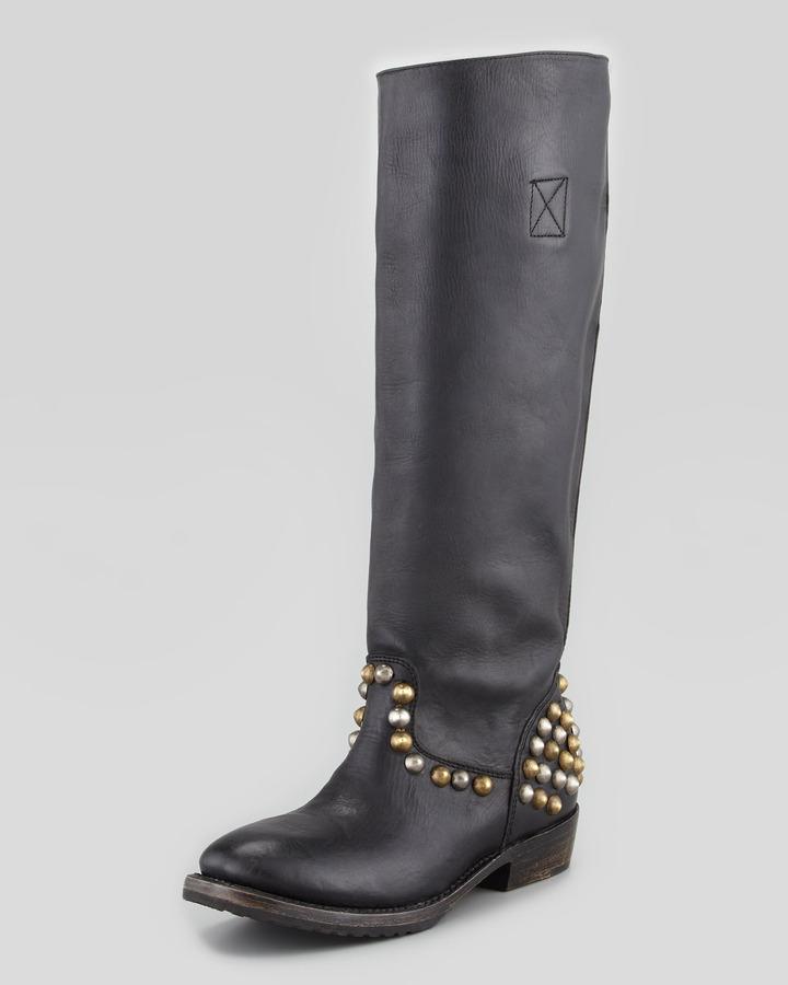 Ash Vamos Bis Studded Leather Knee-Length Boot, Black