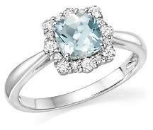Bloomingdale's Cushion-Cut Aquamarine and Diamond Ring in 14K White Gold - 100% Exclusive