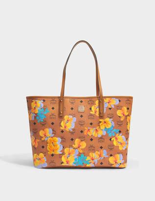 MCM Flower Medium Shopper Bag in Cognac Coated Cotton