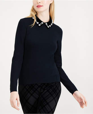 Maison Jules Embellished-Collar Sweater