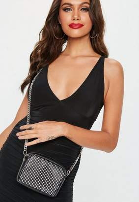 Missguided Black Chain Mail Front Chain Cross Body Bag, Black