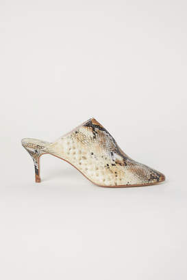 H&M Snakeskin-patterned Mules - Yellow
