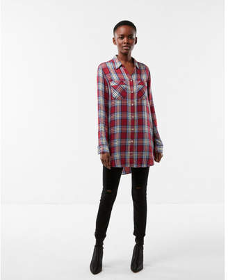 Express red blue plaid button up tunic