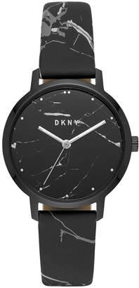 DKNY Women Modernist Black & White Leather Strap Watch 36mm
