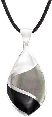 Sterling Silver Onyx & Mother-of-Pearl Teardrop Pendant