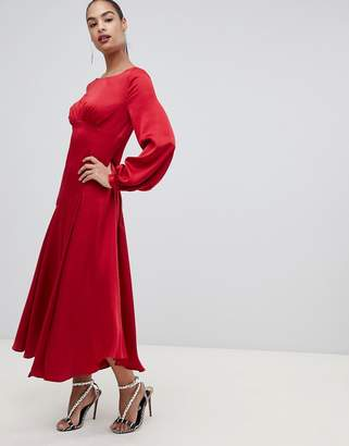 Forever New satin maxi dress with thigh split in red