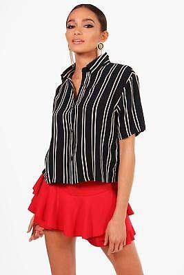 boohoo NEW Womens Striped Short Sleeve Boxy Shirt in Polyester
