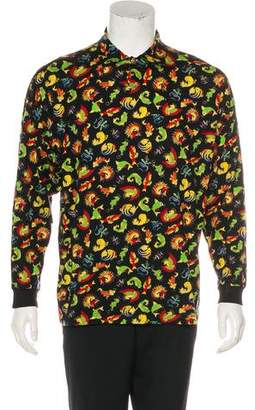 Versace V2 Koi Fish Print Polo Shirt