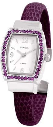 EWatchFactory Women's 0914BG0002 February Birthstone Simulated Leather Bangle Cuff Watch