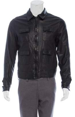 Christian Dior 2007 Four Pocket Leather Zip-Up Jacket