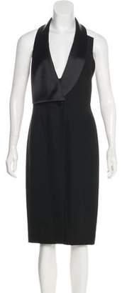 Halston Shawl Collar Midi Dress