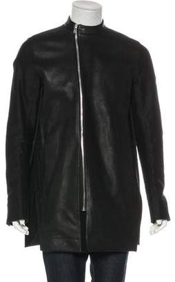 Rick Owens Leather-Paneled Longline Jacket