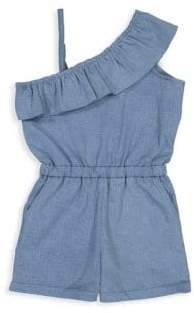 Andy & Evan Little Girl's& Girl's Denim Ruffle Shoulder Romper