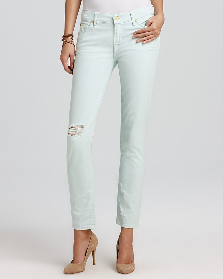 7 For All Mankind Jeans - The Slim Cigarette in Light Moss Destroyed