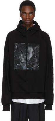 Juun.J Black Embroidered Construct Print Hoodie