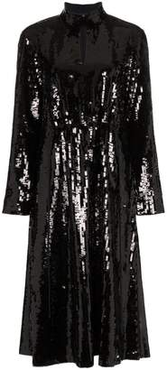 Tibi split neck sequin embellished dress