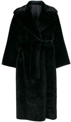 Barena faux fur long belted coat