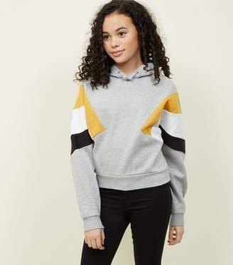 New Look Girls Light Grey Colour Block Sleeve Hoodie