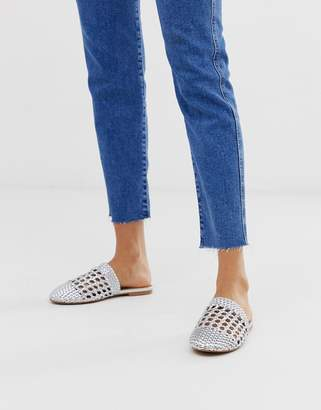 Asos Design DESIGN Motto woven mules in silver
