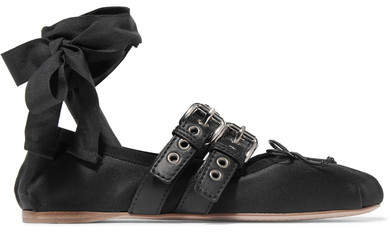 Miu Miu - Lace-up Leather-trimmed Satin Ballet Flats - Black