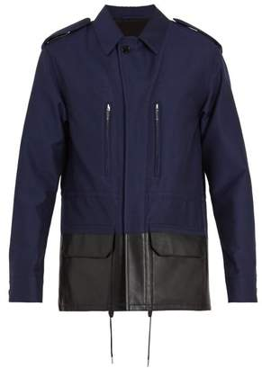 Berluti - Contrast Leather Panel Cotton Blend Jacket - Mens - Navy