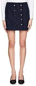 Thom Browne Women's Frayed Wool Miniskirt - Navy