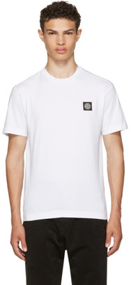 Stone Island White Small Logo T-Shirt $100 thestylecure.com