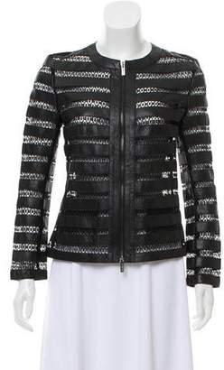 Armani Collezioni Sheer Mesh Leather Jacket
