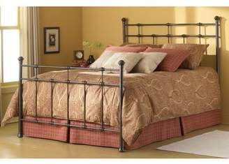 Dexter Fashion Bed Group Complete Metal Bed and Steel Support Frame with Decorative Castings and Finial Posts, Hammered Brown Finish, Twin