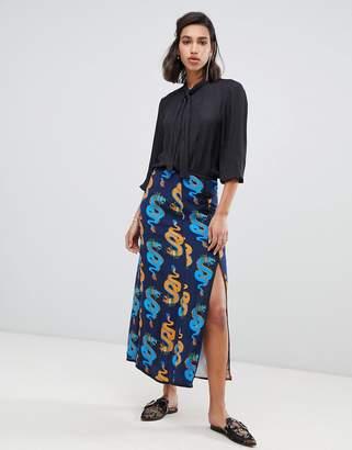 Dragon Optical Fabienne Chapot split midi skirt in roll print
