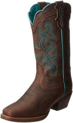 """Justin Boots Women's Silver Collection 12"""" Punchy Boot Wide Square Single Stitch Brown Rubber Outsole"""