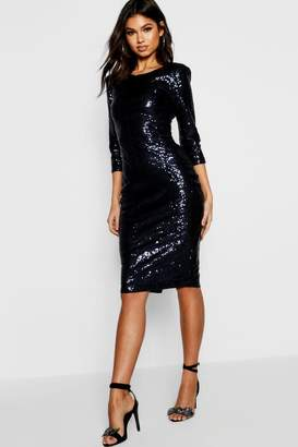 boohoo Boutique Sequin Power Shoulder Midi Dress